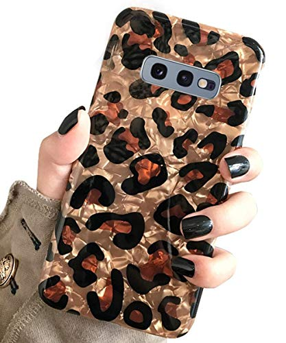 J.west Galaxy S10e Case, Samsung Galaxy S10e Case Luxury Sparkle Glitter Pearly-Lustre Pattern Slim Flexible Clear TPU Soft Rubber Silicone Cover Protective Phone Case for S10e (Leopard)