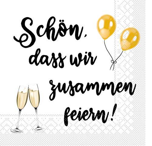 Sovie HORECA Tissue Serviette Schön, DASS wir zusammen feiern/Sekt   Sektglas Party Feier   33 x 33 cm   100 Stück