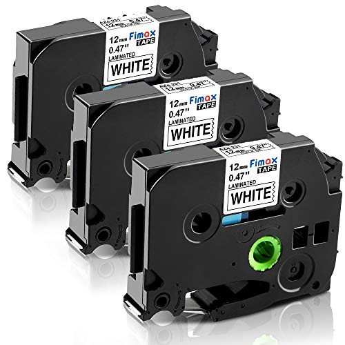 Fimax Kompatible Schriftband als Ersatz für Brother tze-231 tze231 Laminated 12mm 0.47 Schriftbandkassette, Aze Tape 12mm White für P-touch h100lb h100r h101c h105 PT-H105WB PT-1010, Schwarz auf Weiß