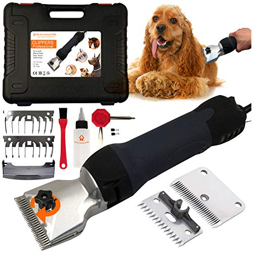 Pet & Livestock HQ 380W Professional Dog Grooming Clippers Kit, Dog Haircut Machine, Heavy-Duty, Electric Hair Trimmer only for XL & Large Dogs with Thick Coats, Horses, Equine, Cow, 2 Blades, 2 Guard