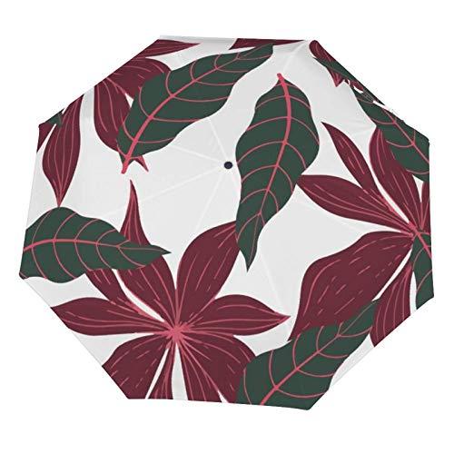 Paraguas de lluvia manual, plegable, resistente al sol, hoja de palma, estilo retro, tropical, ligero, plegable (interior de vinilo)