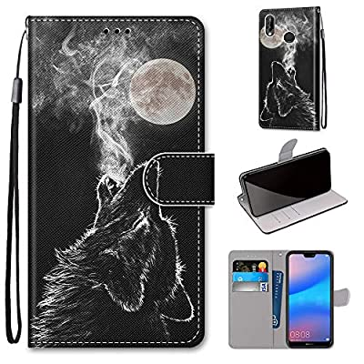 Miagon Full Body Case for Huawei Y6 2019,Colorful Pattern Design PU Leather Flip Wallet Case Cover with Magnetic Closure Stand Card Slot,Howl Wolf