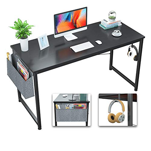 Foxemart Computer Desk 47' Office Desks Writing Study Desk Modern Simple PC Laptop Notebook Table with Storage Bag and Iron Hook for Home Office Workstation, Black