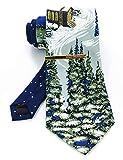 JEMYGINS Krawatte Herren Schneeberg in Seide Weihnachten Weihnachtsgeschenke und Krawattenklammer Set(2)