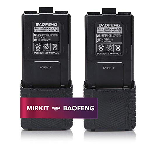 2pc BAOFENG BL-5 3800mAh Extended Batteries Compatible with UV-5R BF-8HP UV-5RX3 RD-5R UV-5RTP UV-5R+, UV-5X3, Rechargeable Extended BAOFENG Accessories Battery by Mirkit Radio