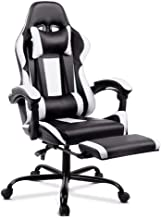 ALFORDSON Gaming Racing Chair Executive Sport Office Chair with Footrest PU Leather Armrest Headrest Home Chair in White C...