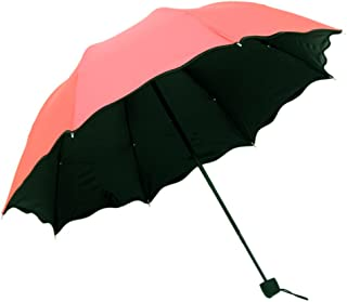 Tri-fold Vinyl Water is Currently Sunny Umbrella Candy Color Folding Umbrella Men and Women Couple Umbrella Huhero (Color : Orange)