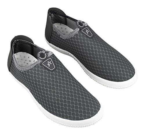 Zapatos Deportes para Hombre,Calzado para Verano sin Cordones,Zapatillas Casuales Transpirables de Fondo Plano para Correr Gimnasio Sneakers Deportivas (1311 Gris, Numeric_42)