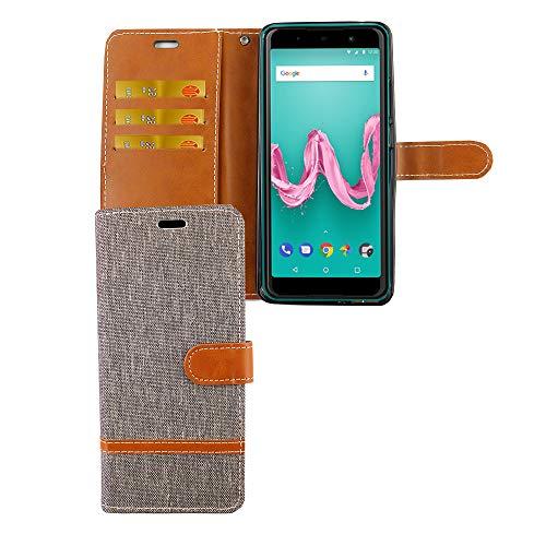 König Design Handy-Hülle Kompatibel mit Wiko Lenny 5 Schutz-Tasche Hülle Cover Kartenfach Etui Wallet Grau