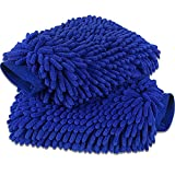 anngrowy Car Wash Mitt 2 Pack - Large Size Microfiber Wash Mitt for Car Cleaning Mitts Tools Premium Chenille Scratch-Free Car Washing Gloves Car Wash Kit Accessories Rag Sponge Winter Waterproof