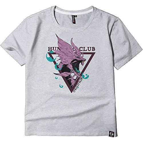 Monster Hunter T-Shirt,Videospiel Mh 3D Gedruckt 100% Baumwolle Grau Short Sleeve Für Sommer Geschenk Spiel Fan D M