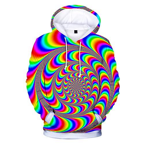 3D Hoodie Sudadera con Capucha Pullover,Anillo Iridiscente HD Colorido Imprimieron el Pulóver para Niño Niñas,M