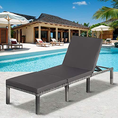Tumbona de jardín de ratán con cojines reclinable silla de jardín (gris)