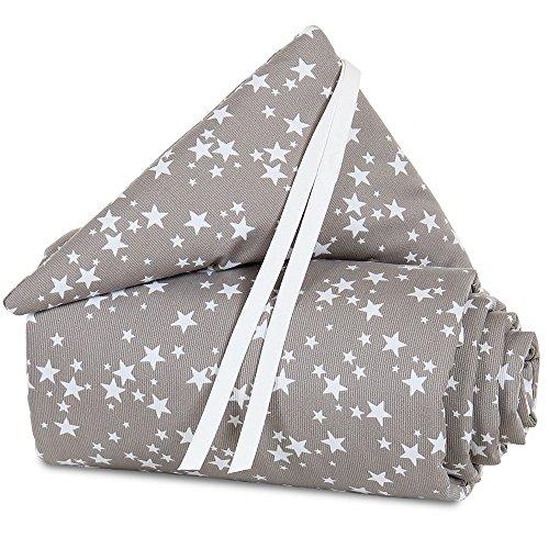 Tour de lit babybay en piqué convient pour le modèle Original, taupe avec étoiles blanches