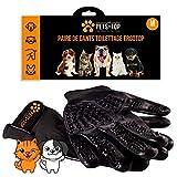 One Pets-Top - Par de guantes de cepillado para animales (perro, gato, caballo, conejo), anti bolas de pelo, elimina el pelo corto y largo, eficaz y ergonómico