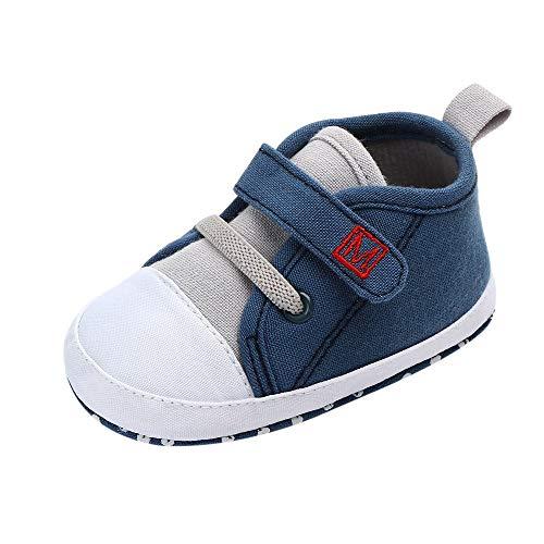 Huhu833 Neugeborene Schuhe, Baby süße Jungen Mädchen Segeltuchschuhe Brief erste Wanderer weiche Sohle Schuhe (0-3Monate, Blau)