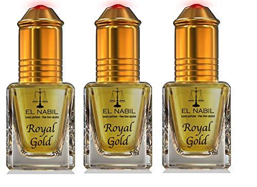 LOT DE 3 MUSCS PARFUMS ROYAL GOLD 5ML NOTES Tête : Jasmin Coeur : Rose, Vanille, Gourmand Fond : Musc, Vanille