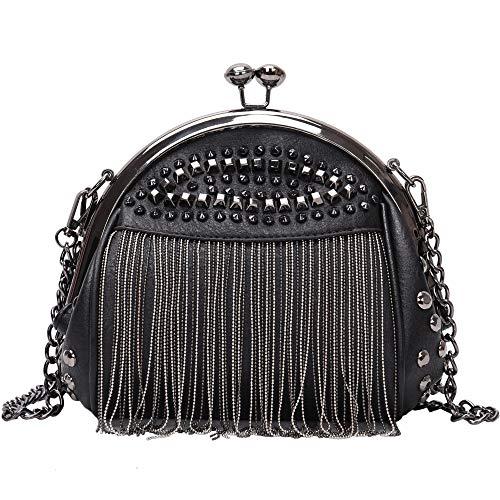 Punk Style Crossbody Bags for Women Rivet Tassel Evening Clutch Purse Ladies Black Chains Shoulder Bag (Black)