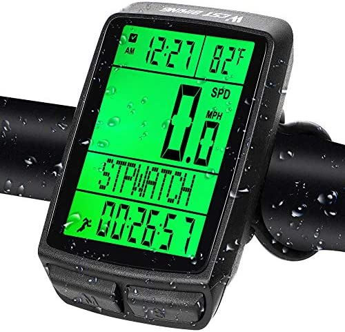 West Biking Bike Computer Bicycle Wireless Speedometer Odometer 5 Languages Memory Automatic product image