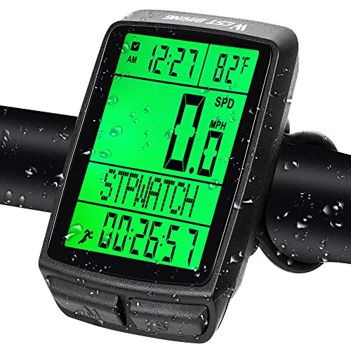 West Biking Bike Computer, Bicycle Wireless Speedometer Odometer, 5 Languages, Memory & Automatic Wake-up, Waterproof Stopwatch Speed Tracker, with LCD Backlight Cycling Accessories