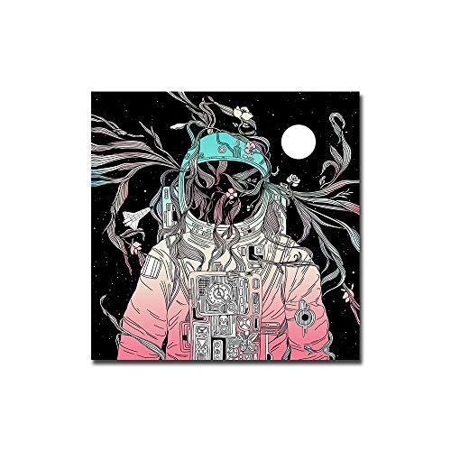 WIOIW Abstrakte Wandkunst Bild Nordic Cartoon Astronaut Blumenraum Träumender Stern Raumschiff Leinwand Malerei Poster Schlafzimmer Wohnzimmer Büro Studio Home Decor
