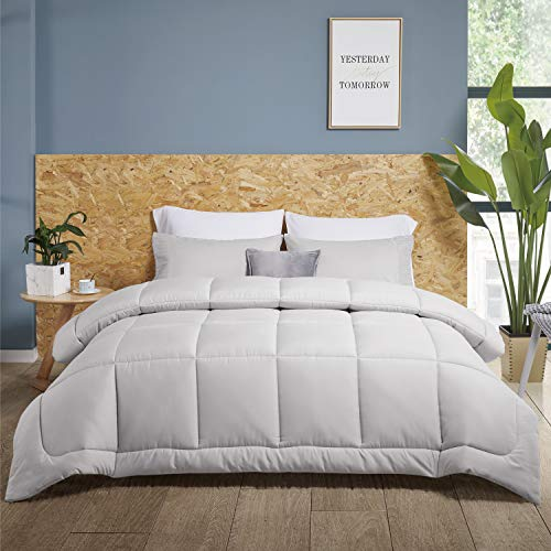 Bedsure Duvet Insert Full Comforter Light Grey - All Season Quilted Down Alternative Comforter for Full Bed, 300GSM Mashine Washable Microfiber Bedding Comforter with Corner Tabs