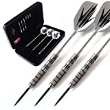 CUESOUL 95% Tungsten 26 Grams Tungsten Steel Tip Darts Set -with 1 Deluxe Dart Case