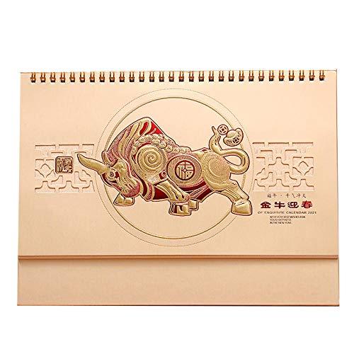 スクカレンダー 2021年の太陰暦中国牛年,27x8x19.8cm,中華風ゴールデンブルパターン 限定2021年カレンダー 牛の旧正月、1日あたりの個別ページ32K