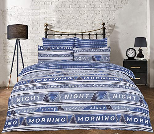 Sleepdown Duvet Cover Set - Geo Text Blue Double with Pillowcases - Cosy and Stylish Bedding with Reversible Stripes