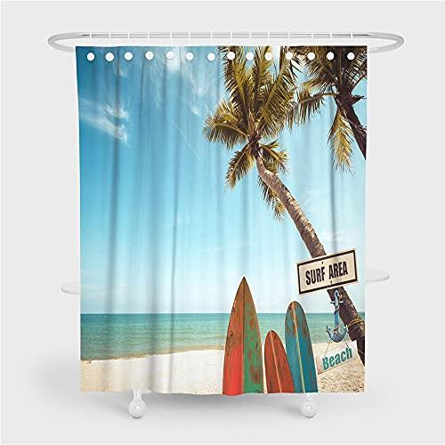 ZDPLL Cortina de Ducha Impresa en 3D Cocotero y Tabla de Surf Cortinas de duche em poliéster impermeável, para la decoración del hogar 180x220cm