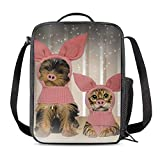Prelerdiy Funny Pig Headwear Cat Dog Lunch Bag Tote Lunch Box Food Bag For Boys Girls With Side Pocket & Shoulder Strap