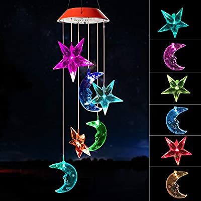 Wind chimes outdoor, gifts for mom, solar wind chimes ,Star Moon /hummingbird wind chimes ,outdoor decor, mom gifts,mom borthday gift,gardening gift,color wind chime solar,windchimes unique outdoor