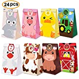 Farm Animal Party Favor Bags,Barnyard Birthday Treat Goody Bags For Farm Animal Party Supplies Pack of 24