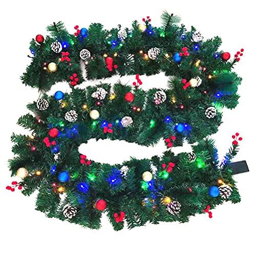 NOEARR Corona de Navidad, Guirnalda de Navidad con Luces, Luz LED de Ratán de Cono de Pino de PVC, Adorno de Guirnalda de Navida, Decoración de Navidad, para Ventana, Puerta, Pared - 2.7M