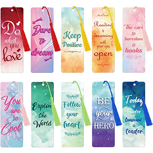 20 Pieces Inspirational Quote Bookmark with Tassel Motivational Bookmarks Positive Page Marker for School Office Students Bookworm Presents, 10 Designs