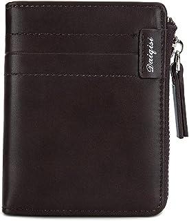 BeniMen's wallet new simple driving license holster zipper short card package zipper wallet-Deep brown