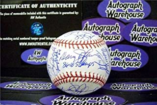 1986 New York Mets autographed Baseball (World Series team signed by 32 OMLB) Gary Carter Keith Hernandez Doc Gooden Strawberry Ray Knight Aguilera