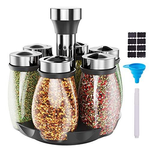 OMEW Pot à Epice Bocaux a Epice Spice Rotatif Set 360 °Support à Epices Transparent Portable avec 6 Pots à Epices en Verre, pour Armoires de Cuisine et Stockage