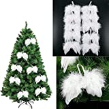 10Pcs White Vintage Feather Wing Christmas Tree Ornament Dangle Drop Chic Angel Christmas Tree Decoration Hanging Ornament Home/Party/Wedding Ornaments