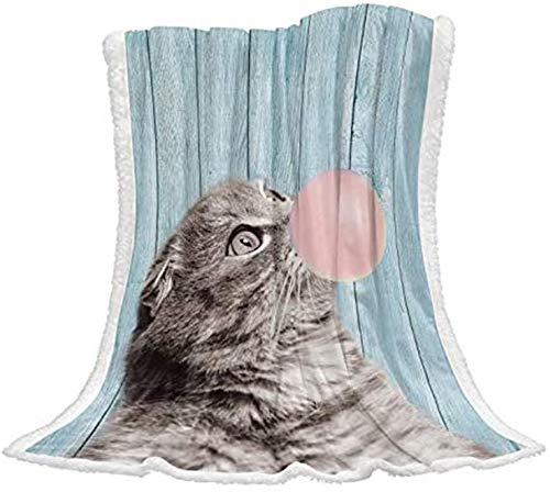 Soft Throw Decken 50x60 Zoll,süße Katze Haustier bläst rosa Kaugummi blau Holzplanke reversibel warm gemütlich flockig Plüsch Sherpa Decke für Sofa Stuhl Camping die ganze Saison verwenden