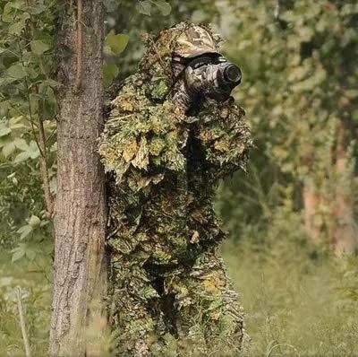 XFC-MICAI, Vestiti di Caccia Nuovo 3D Maple Leaf Bionic Ghillie Suits Sniper Softair Birdwatch Abbigliamento Mimetico Giacca e Pantaloni (Colore : Tree, Taglia : One Size)