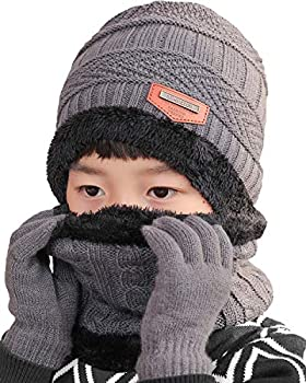 T WILKER 3Pcs Boys&Girls Winter Knit Hats Neck Warmer Scarf and Touch Screen Gloves Ski Beanie Cap Scarves and Gloves Set for Kids  Gray
