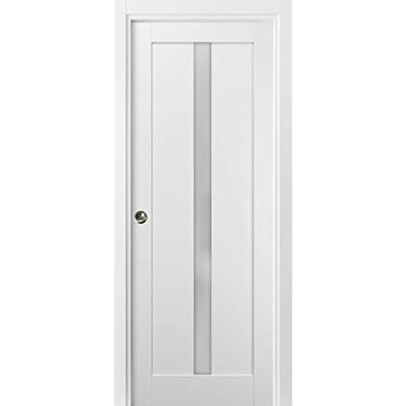 Panel Lite Pocket Door Quadro 4112 White Silk With Frosted Opaque Glass Sample Of Color