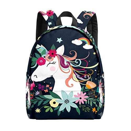 Kid's Backpacks Cute Unicorn Flower Rainbow Rucksack Cute Student School Book Bags
