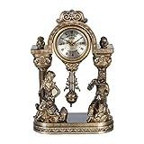 Reloj de Sobremesa de Sobremesa Reloj Retro Clásico de Repisa Mudo de Resina Escritorio con Estantería Y Batería. Se Aplica a Las Familias Oficinas Etc, QiXian, Bronce, 13 '/ 33x22cm
