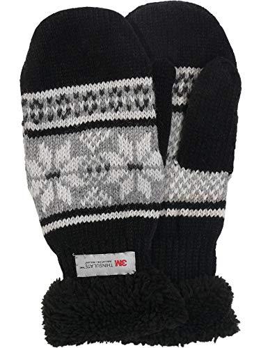 Claus Modes Gestrickter Fäustling mit Norweger Muster Thinsulate für Herren, Farben:schwarz mit grau, Handschuhgröße:L/XL