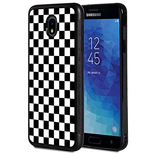Galaxy J7 2018/J7 V 2018/J7 Refine/J7 Star Case,Black White Checkered Design Shockproof Slim Anti-Scratch TPU Rubber Protective Case Cover for Samsung Galaxy J7 2018