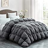 Luxurious Goose Down Comforter King Size Duvet Insert, Pinch Pleat Design, 60 oz Fill Weight, 100%Cotton Shell White Goose Down Feather Down Proof with 8 Tabs (King, Grey Pinch Pleat)