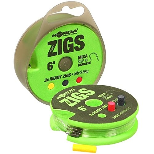 Korda NEW Ready Tied Zig Fishing Rigs Barbed 12ft