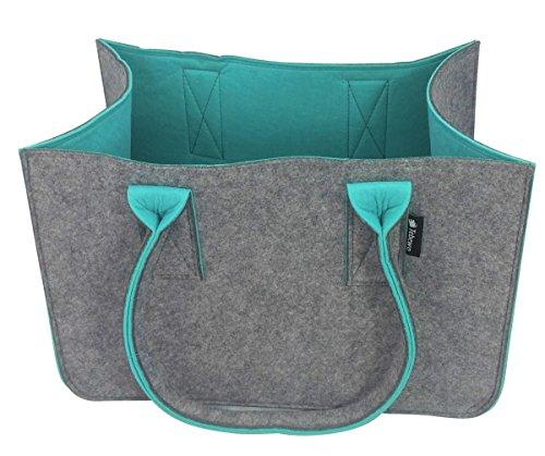 Tebewo Shopping Bag aus Filz-Stoff, große Einkaufs-Tasche mit Henkel, Einkaufskorb, Faltbare Kaminholztasche, vielseitige Tragetasche Farbe grau (dunkelgrau/türkis)